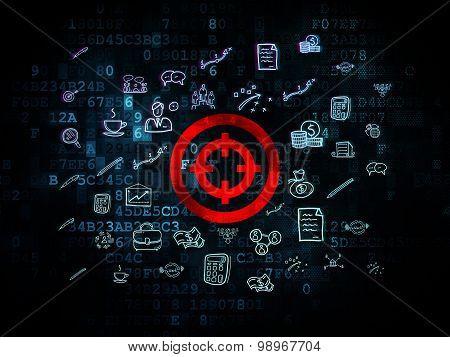 Finance concept: Target on Digital background