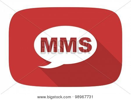 mms flat design modern icon with long shadow for web and mobile app