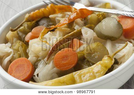 Turkish pickled vegetables in a bowl