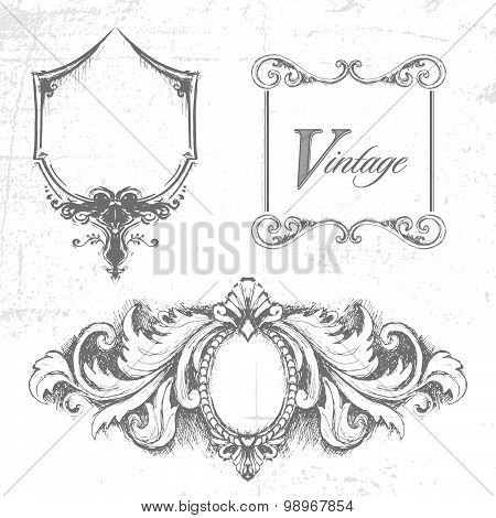 Vector set of design elements. Handmade