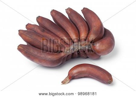 Bunch of fresh ripe red bananas on white background