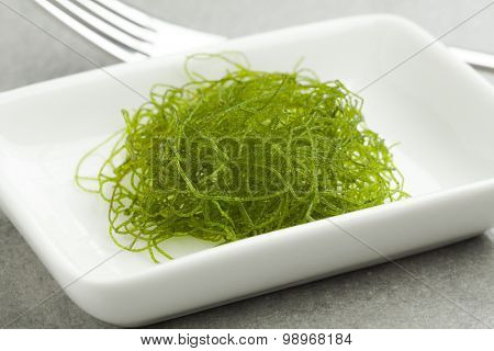 Dish with fresh filamentous green algae as a side dish