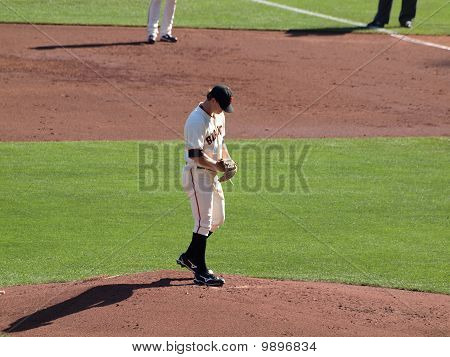 Pitcher Matt Cain Looks Down As He Prepares To Pitch