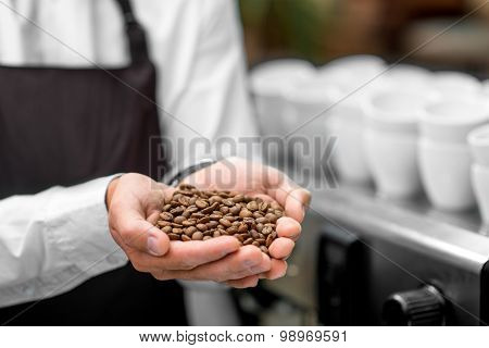 Holding coffee beans