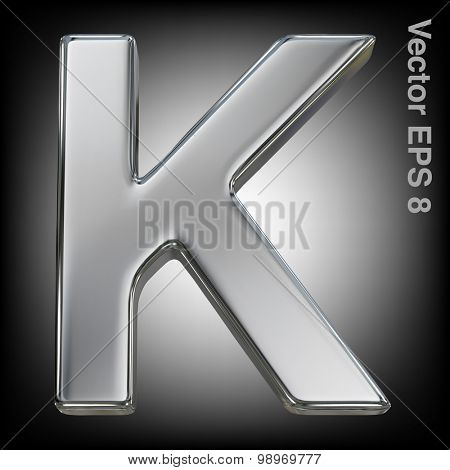 Metal alphabet vector symbol - K. Eps 8 using mesh.