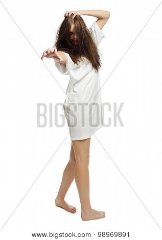 Zombie girl isolated on white