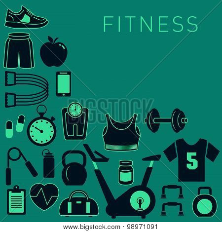 Sports Background with Fitness Icons