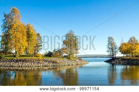 Peaceful Ocean Bay With A Small Bridge