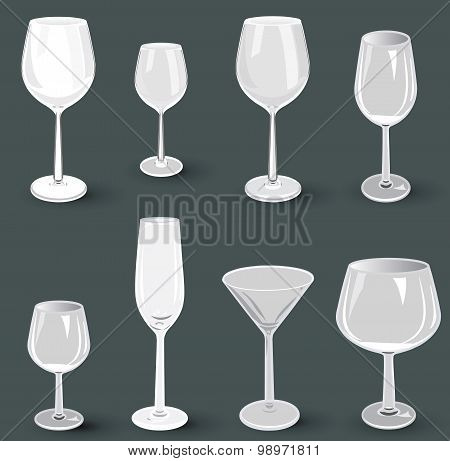 Set of glass wine glasses and champagne for a party