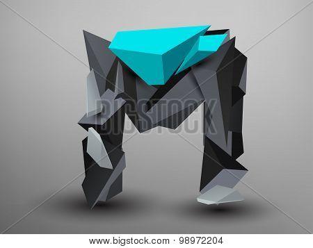 3D Prism Font - M