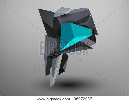 3D Prism Font - P