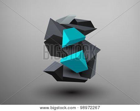 3D Prism Font - S