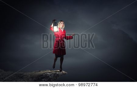 Woman with lantern