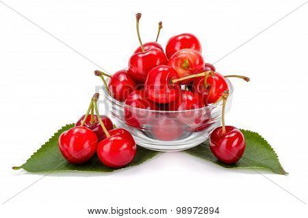 Sweet Cherries (prunus Avium) In Plate
