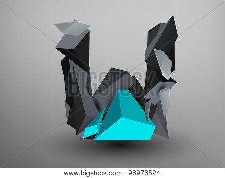 3D Prism Font - W
