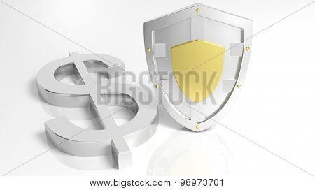 Silver shield and Dollar symbol, isolated on white background