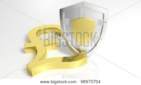 Silver shield and gold British Pound symbol, isolated on white background