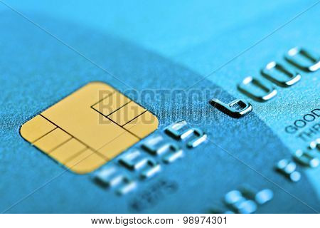 Macro shot with old credit card. Fake card numbers