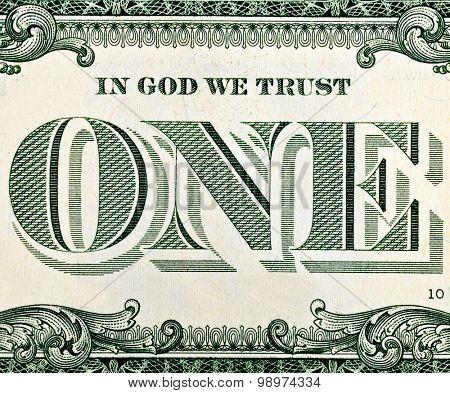 One dollar bill fragment macro