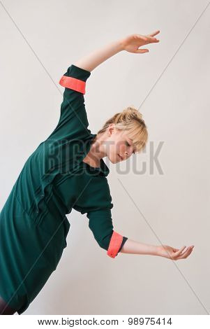Young Pretty Woman With Hands Up - Studio Shot - White Background