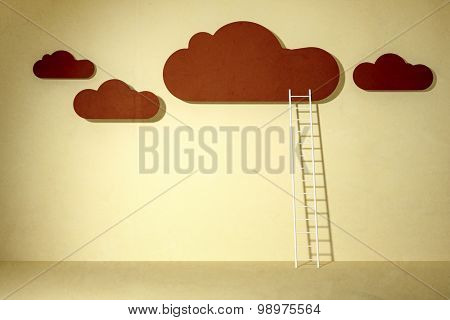 reaching the clouds with a white ladder