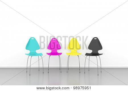 An image of some CMYK chairs in a row