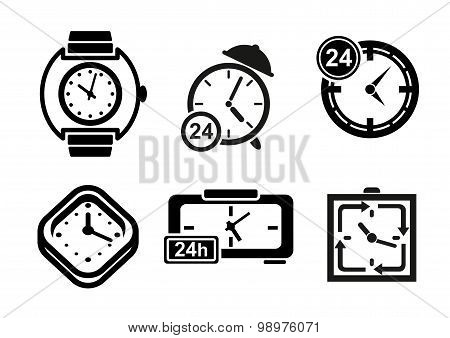 Clock and timer icons set