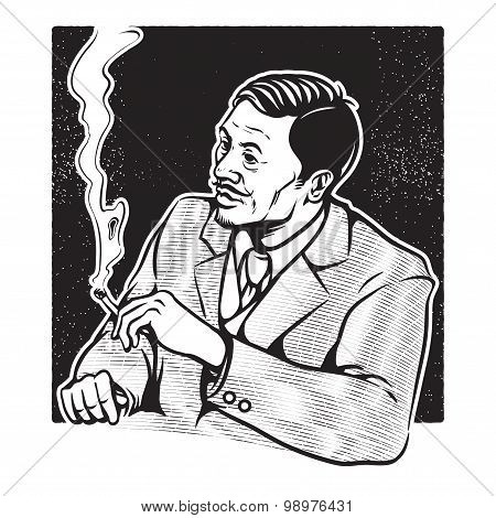 Vintage Illustration Of Businessman Smoking