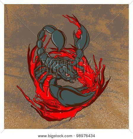 Scorpion Vintage Grunge Illustration