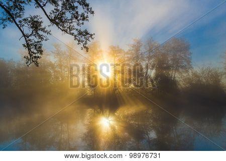 Sunrise through morning fog on a river