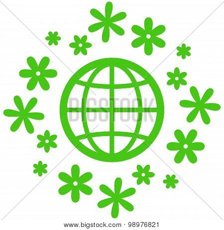 Blooming Earth Vector Icon
