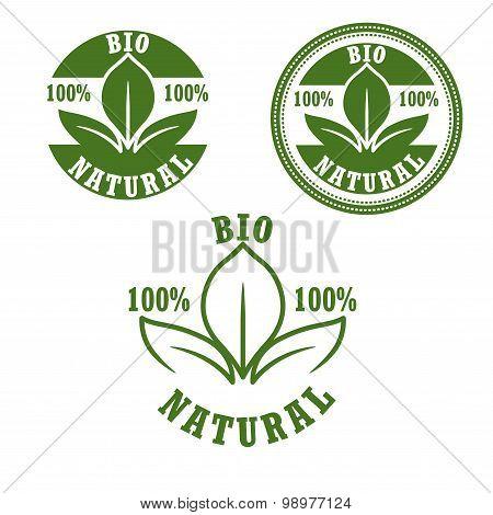 Natural bio green labels set