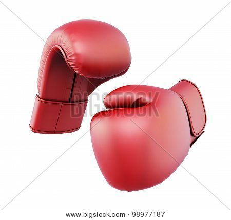 Red Boxing Gloves Isolated  On White Background