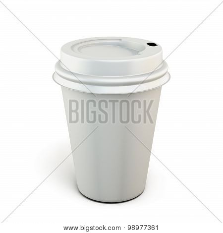 White Plastic Cup Of Coffee On A White Background