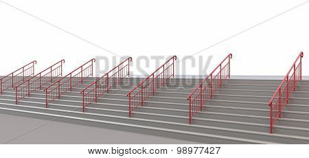 Staircase With Handrails To Nowhere On A White