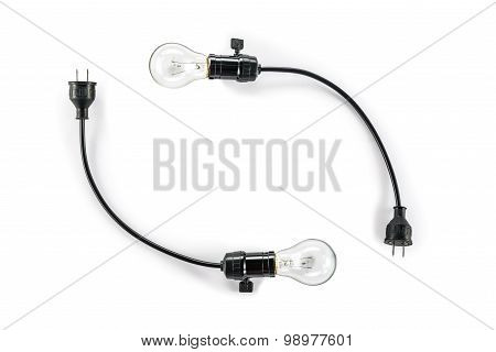 Light Bulb With Plug And  Lamp Holder, Cable Tungsten Two