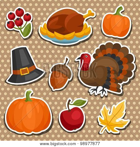Set of Happy Thanksgiving holiday sticker object