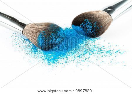 Blue Powder Eyeshadow On A Brush, Fashion Beauty