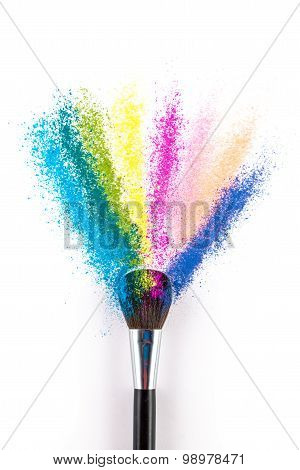 Multi Colored Powder Eyeshadow With Brush, Fashion Beauty Tool