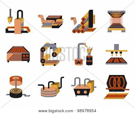Flat color vector icons for food processing