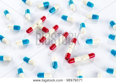 Red Capsule And Blue Capsule In Hiv Word