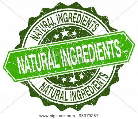 Natural Ingredients Green Round Retro Style Grunge Seal