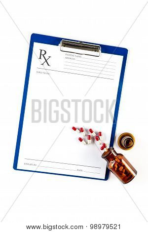 Medical Insurance And Healthcare, Rx Form With Capsules