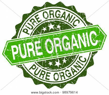 Pure Organic Green Round Retro Style Grunge Seal