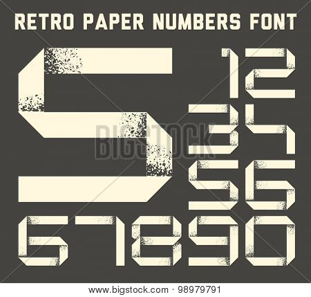 Numbers font made from white grunge paper stripe