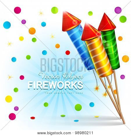 Vector festive background with firecrackers and confetti