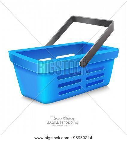 vector blue shopping basket to Market