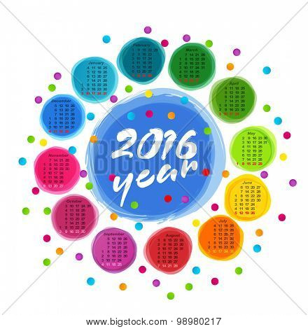 vector calendar template with colorful circles for 2016