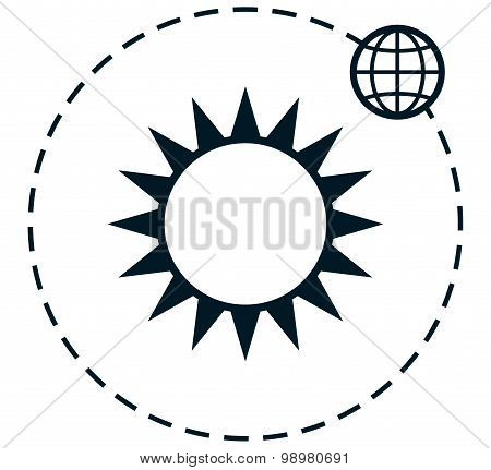 Vector Sun Earth Orbit Simple Vector Illustration