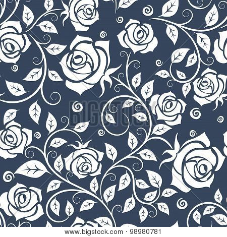 White and gray roses seamless pattern